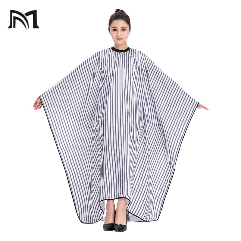 3Pcs Polyester 2 Colors Salon Wrap Apron Stripe Leisure Style Peri Cloth Water-repellent Cape Hairdressing Assistant B1-NEW