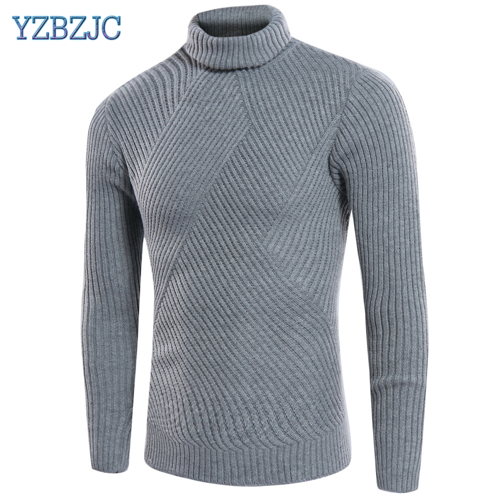 YZBZJC 2018 New Autumn Winter Men'S Sweater Men'S Turtleneck Solid Color Casual Sweater Men's Slim Fit Brand Knitted Pullovers