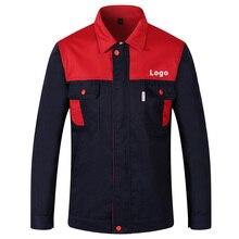 Arbeitskleidung Anzüge herren Langarm Mischfarbe Werkstatt Uniformen Custom Druck Unternehmen Logo Text Unisex Arbeits Kleidung Jacke