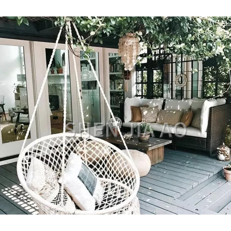 Outdoor Leisure Hanging Chair Indoor Hand-knitted White Swing Hanging Chair Simple Nordic Style Swing Chair 1PCOutdoor Leisure Hanging Chair Indoor Hand-knitted White Swing Hanging Chair Simple Nordic Style Swing Chair 1PC