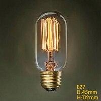 T45 40 Вт Винтаж EDISON ЛАМПЫ ДЛЯ Винтаж лампы, поделки ручной работы светильники, модное накаливания Эдисон лампа светильник, E27/220 В