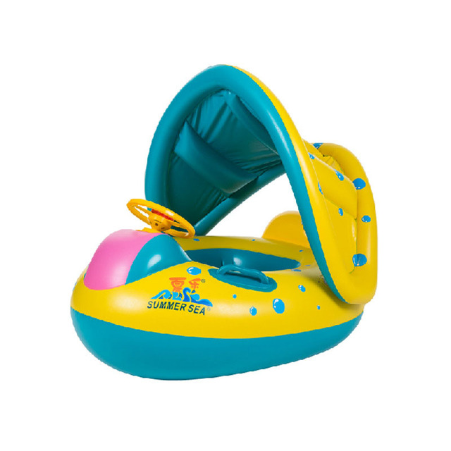 2017 New Safety Baby Infant Swimming Float Inflatable Adjustable Sunshade Seat Boat Ring Swim Accessories