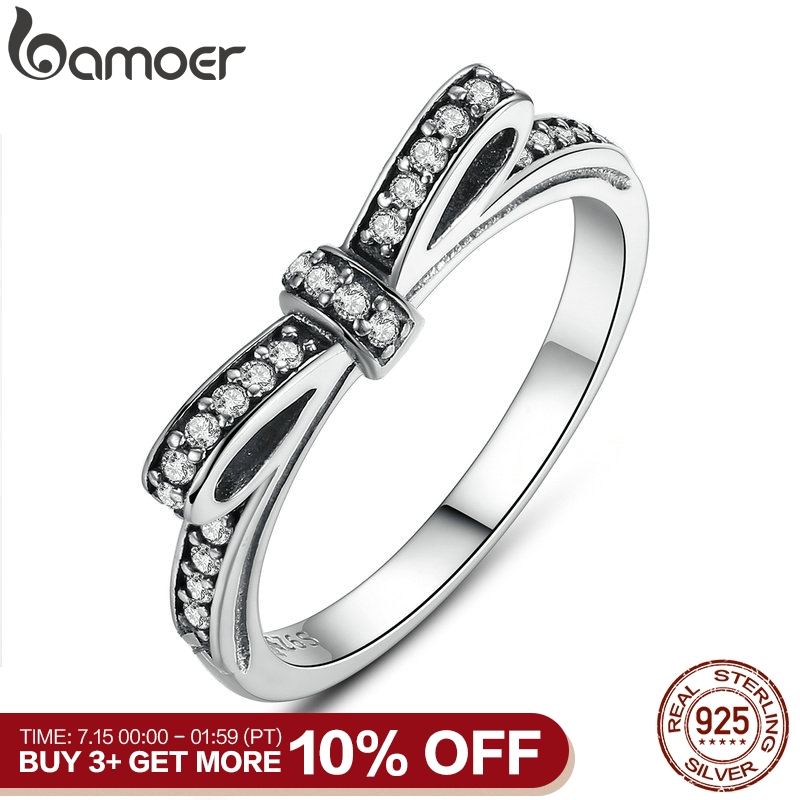 BAMOER HOT 925 Sterling Silver Sparkling Bow Knot Stackable Ring Micro Pave CZ for Women Valentine's Day Gift Jewelry PA7104(China)
