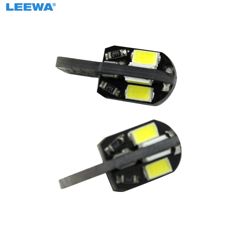 LEEWA <font><b>100pcs</b></font> <font><b>T10</b></font> 194 168 W5W 5730 SMD 8 LED <font><b>Canbus</b></font> No Error Car Side Wedge LED Light Bulbs #CA5297 image