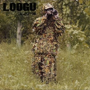 Outdoor Ghillie Suits Camouflage Woodland Hunting Outfit 3D Disguise Uniform CS Suits Set Sniper Camo Military Hunting Cloth predator concrete jungle figure