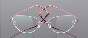 Image 2 - Cat eye kobiety stopu tytanu Rimless okulary dla osób z krótkowzrocznością krótkowzroczne okulary korekcyjne różowy 0.50 0.75 1.25 do  6.00