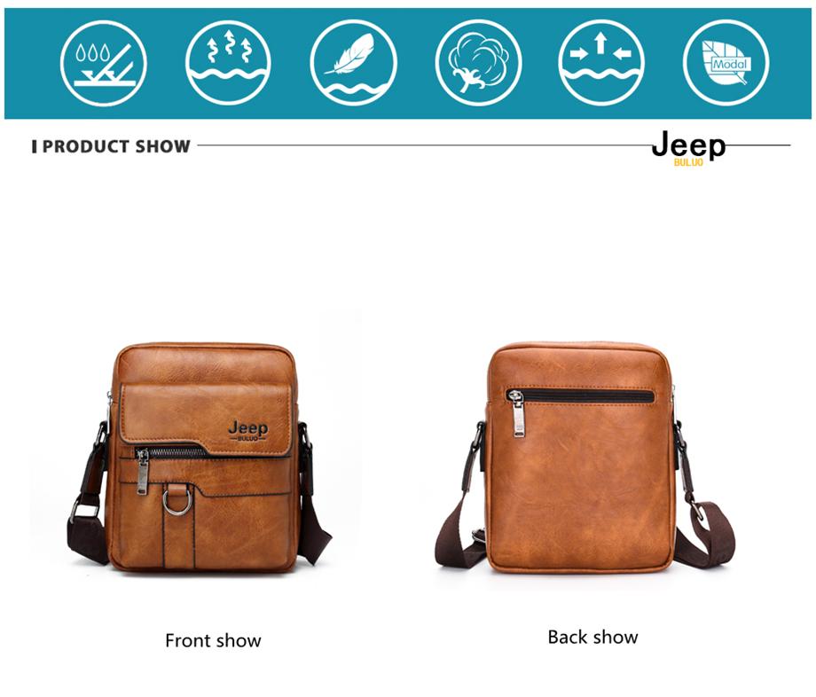 JEEP BULUO Luxury Brand Men Messenger Bags Crossbody Business Casual Handbag Male Spliter Leather Shoulder Bag Large Capacity 16