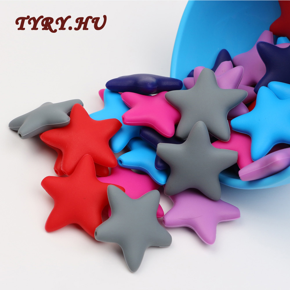 TYRY.HU 10PC Food Grade Stars Silicone Beads BPA Free DIY Baby Teething Necklace Pendant Making Pacifier Chain Accessories Toys