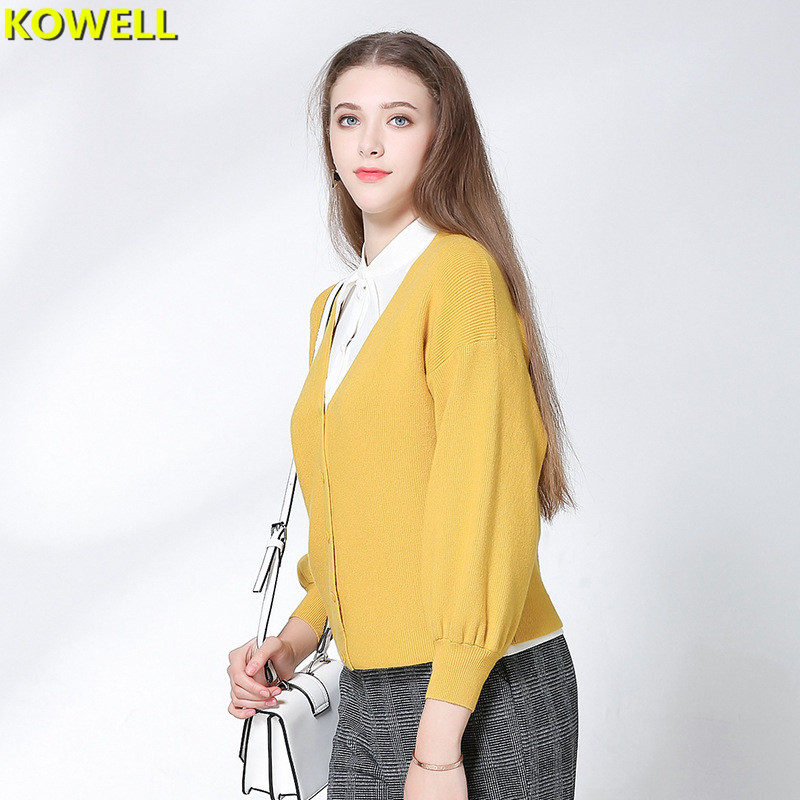 Hot Sale 2018 Womens Clothing Loose Sweater Spring Casual Cardigans V-Neck Solid Color Full Sleeve Knitted Single Breasted Tops