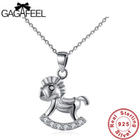 Gagafeel 925 Sterling Silver Horse Necklace For Women Lovely Shining Crystal Animal Pendant Jewelry Silver Necklace