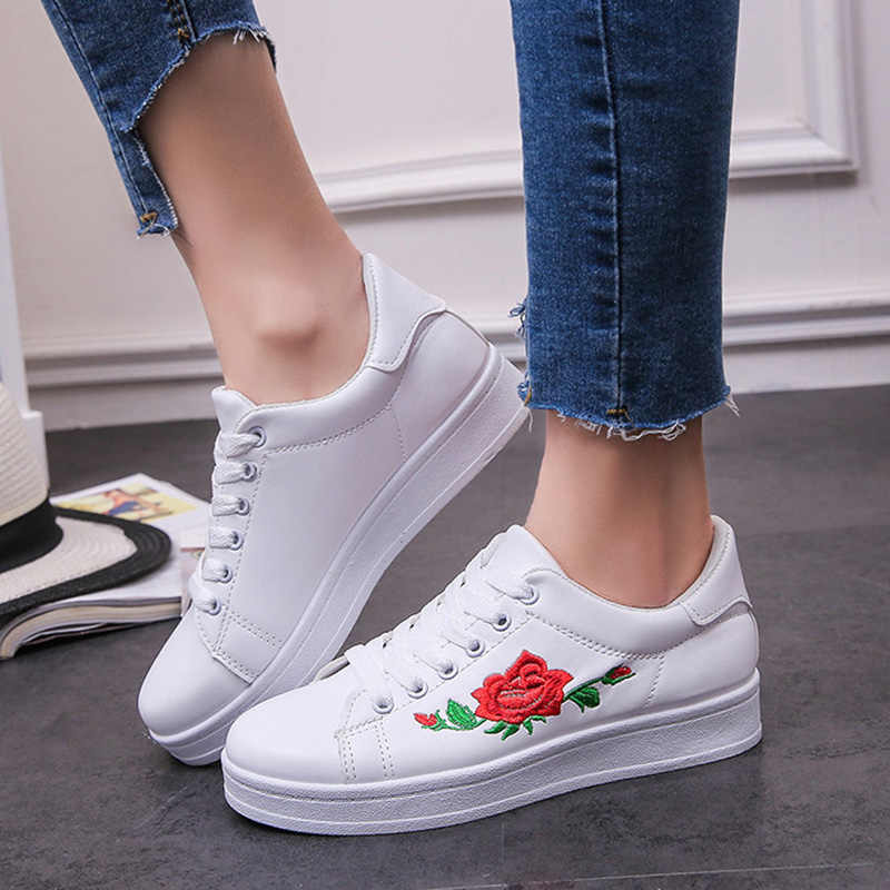 Women Sneakers Pu Leather Embroidery Sneakers Flat Platform Lace Up Shoes  Woman Casual Shoes White espadrilles b8f631b602e9