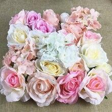 1 шт. большая Шелковая Роза, пион, искусственная Гортензия цветок с головками стены фон цветочный DIY ремесло свадебные украшения Флорес