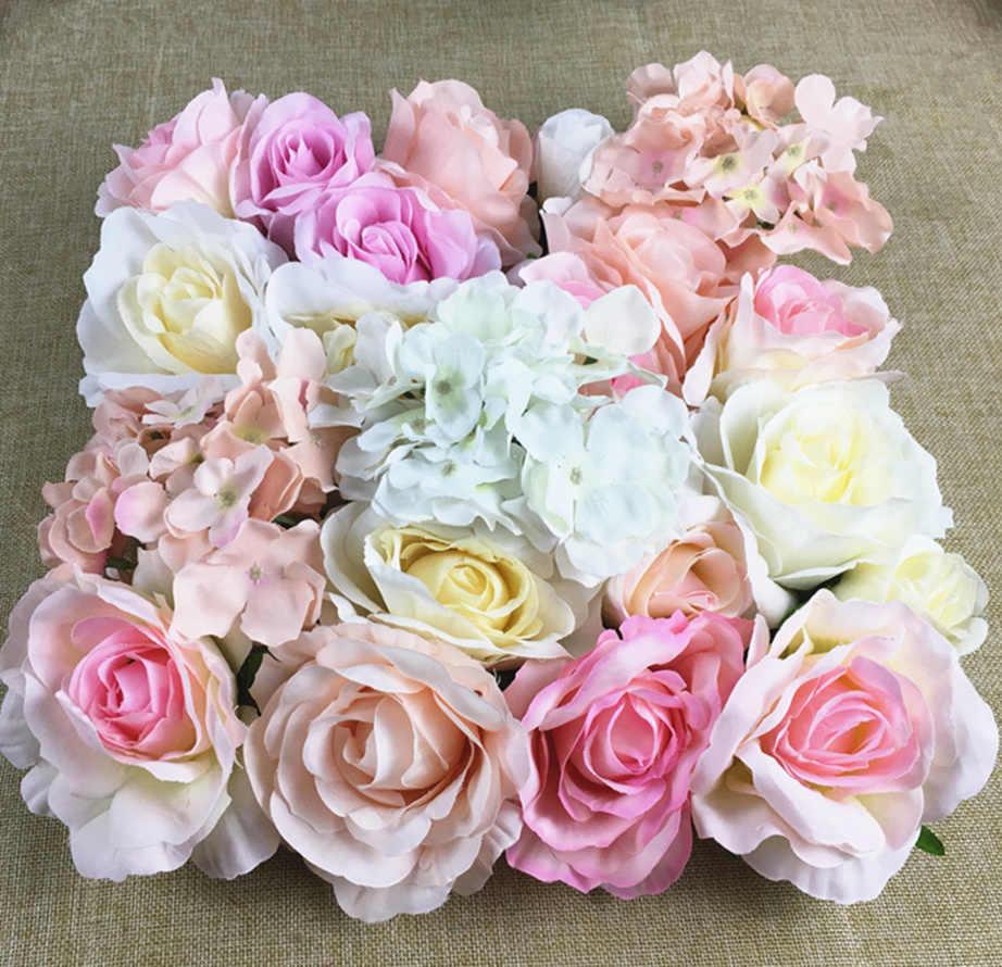 1 unidad de gran rosa de seda, peonía, Hortensia cabezas de flor Artificial fondo de pared floral DIY decoración de boda artesanal flores