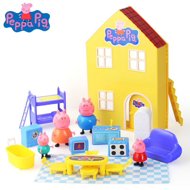 2019 Genuine Peppa Pig-- Peppa's House Behavioral Action Boxes Peppa and George Character Theater Children's Toys Birthday Gifts