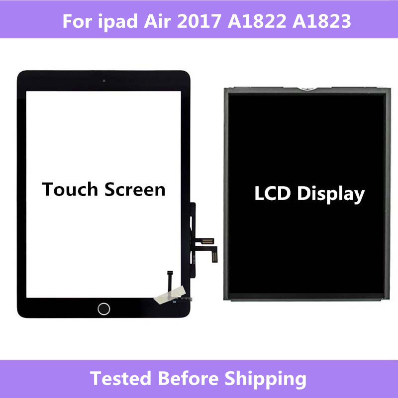 A1822 A1823 For ipad Air <font><b>2017</b></font> Touch Screen Digitizer panel Home Assembly / LCD Display Screen Repair For ipad <font><b>5</b></font> <font><b>2017</b></font> A1822 A1823 image