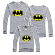 2015 autumn long sleeve t shirts batman cotton family look clothing matching mother daughter clothes father son outfits