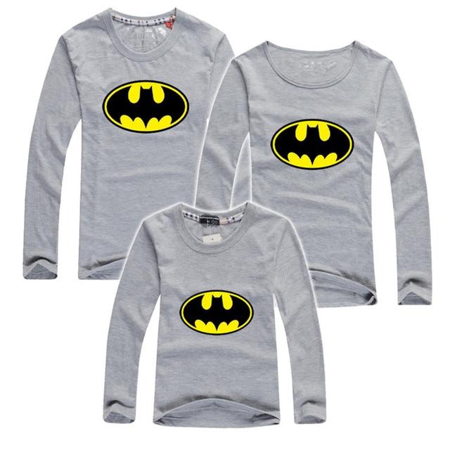 0ebf0ad19 2019 Otoño de manga larga Camisetas batman de algodón familia ropa juego  madre hija ropa Padre
