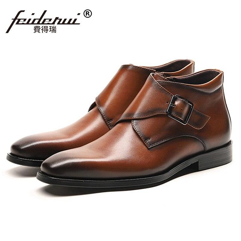 c3a005569 Ankle marrom Italianos Dedo Pé Genuíno Dos Designer Homem Pontas Sapatos  Monge Artesanal De Ss306 Quente Do Couro ...