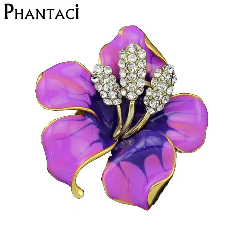 NºVivid Trompetas flor goteo color oro Broches para las mujeres ...