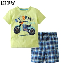 hot deal buy 2017 new summer kids clothes children clothing baby boy clothes set toddler baby boys clothing set cotton knitted striped shorts