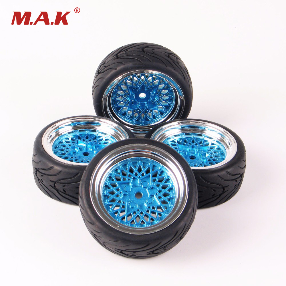 12mm Hex RC Car Model Kids Toys Accessory 1/10 Flat Rubber Tires And Wheel Rim For HSP HPI RC On Road Racing Car 10365+21006 1 10 rc car model accessory toys aluminum alloy wheel rim brake disc hsp 00145s for rc on road racing car model