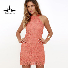 Leiouna 2017 Flower Off Shoulder Sleeveless Sheath Vest Pink Sexy Culd Summer Dress Woman All-match Suit S Lady Berserk