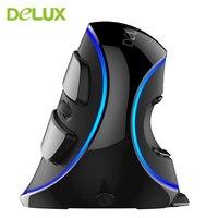 Delux M618 Più Wired Ergonomica Verticale Gaming Mouse 6 Pulsanti 1600 DPI Ottico LED Blu Retroilluminazione USB Mouse Con Polso supporto