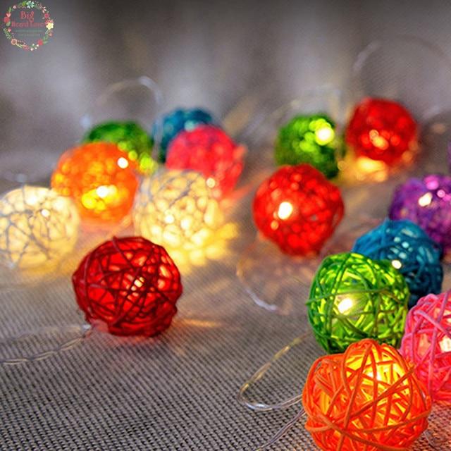 6294aa76f59 20 Rattan bola Led de cuerda de hadas luces del árbol de Navidad adornos Navidad  decoración