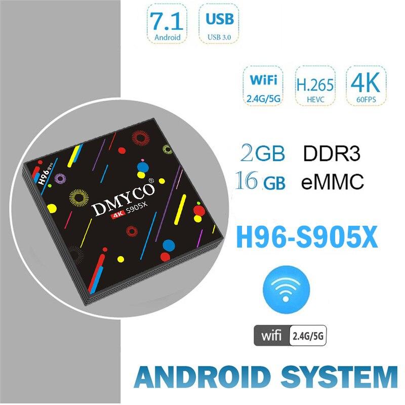 DMYCO H96 Max S905X H2 Android 7.1 TV Box 2G 16G S905X Octa core 4K Smart TV VP9 HDR10 USB3.0 WiFi BT 4.0 Media Player TV BOX z4 android tv box rk3368 octa core 64 bits 2g 16g android 5 1 smart tv box wifi