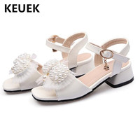 New Girls Sandals Baby Princess Shoes High heels Children Gladiator Bow Shoes Student Performance Summer Shoes Kids Sandals 02C