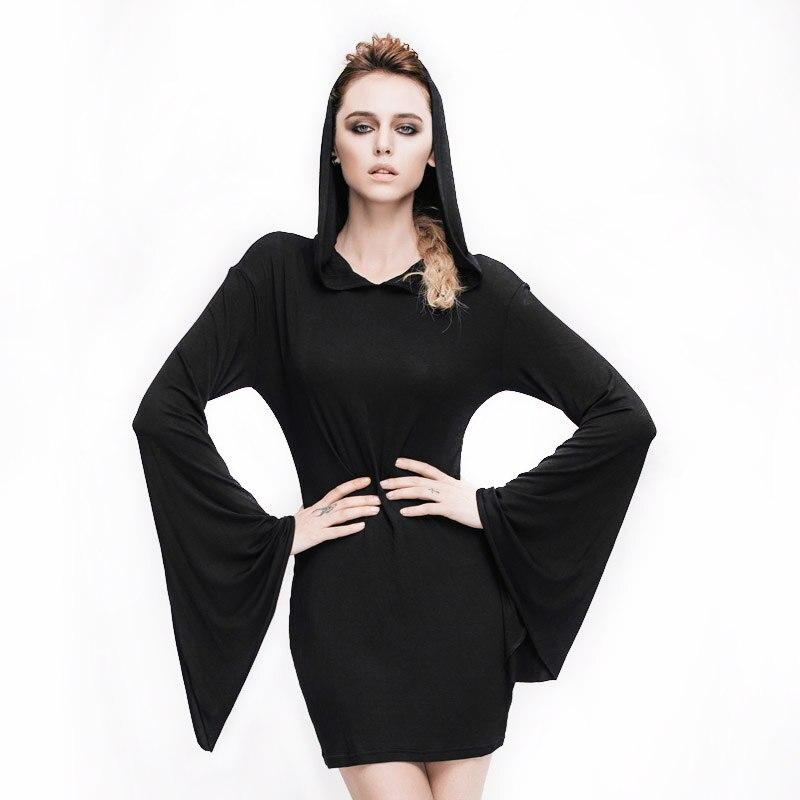 Steampunk Dámské ležérní šaty Batwing rukáv Gothic s kapucí Dámské dlouhý rukáv A-line Mini Šaty Levné oblečení-Čína