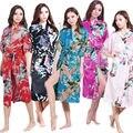 2015 nightgown Women Satin Kimono Robe Obi Japanese Yukata Geisha Dress Sexy Lingerie Rayon Nightgown Sleepwear Bathrobe Plus