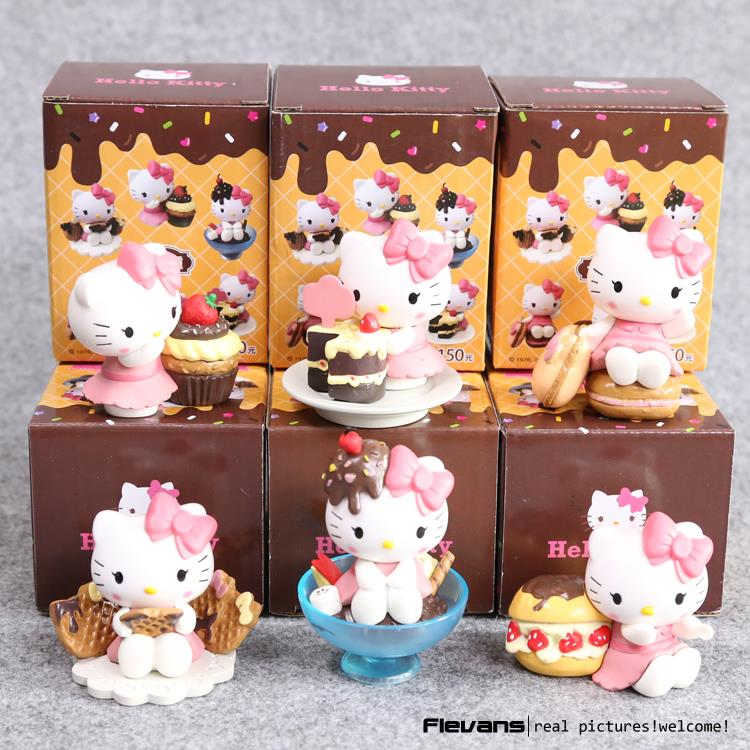Anime Cartoon Lovely Hello Kitty Chocolate Party PVC Action Figures Collectible Model Toys Dolls 6cm 6pcs/set KTFG034 6 pcs set princess snow white cinderella action figures toys cute q version 9cm pvc statue anime collectible dolls kids gift