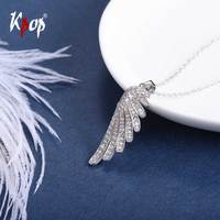 Kpop 925 Sterling Silver Angel Wing Necklace Wedding Bridal Jewelry Cubic Zirconia Mirco Pave Wing Charm Necklace 6044B