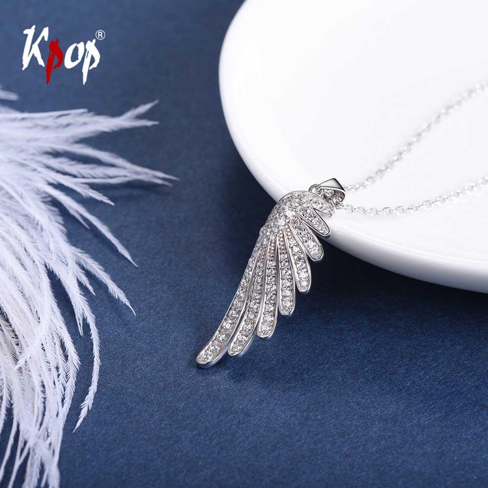 Kpop 925 collier aile d'ange en argent Sterling bijoux de mariée de mariage zircon cubique Mirco collier de charme aile pavée 6044B