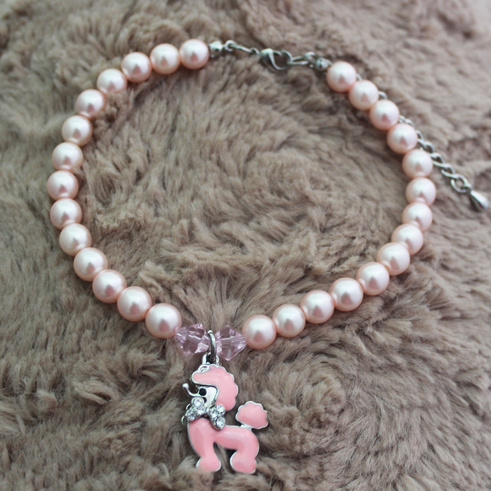 Dog Cat Pearls Necklace Collar With Bling Doggie Charm Pendant font b Pet b font Puppy