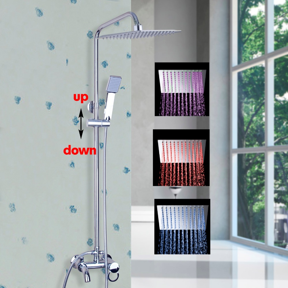 Luxury LED NEW Polish Chrome  Rainfall Shower Set Faucet + Tub Mixer Tap + Handheld Shower Wall Mounted 54105-11 new shower faucet set bathroom faucet chrome finish mixer tap w abs handheld shower wall mounted