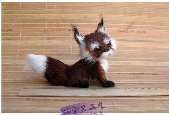 малка сладка лисица играчка симулация тъмно кафяво лисица кукла декорация кукла подарък играчка около 13 * 5 * 11cm 2071