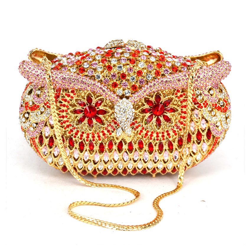 Owl lady Luxury gifts Top quality full gold diamond owl evening party shoulder bag Women Clutch handbag Box Bling wedding Purse new luxury hollow handbag dinner party bag women s evening bag fashion women s crossbody bag women clutch bags lady gifts flower