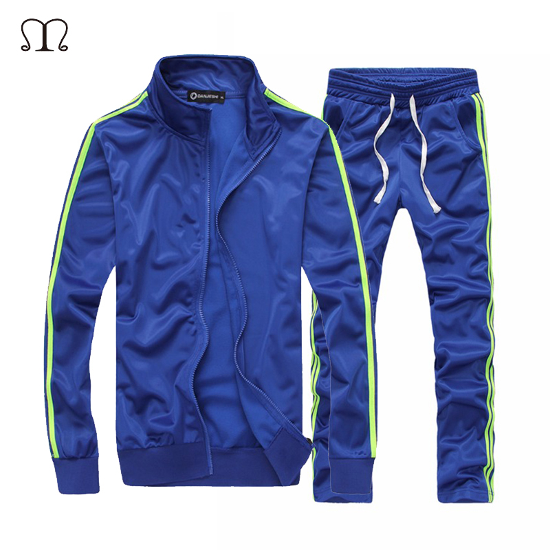 Sweatshirt Men Tracksuit Men Set Casual Striped Zipper Jacket + Sweatpants 2PCS Stand Collar Fleece Couples Sporting Suit Autumn