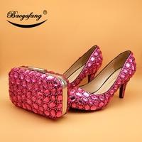 BaoYaFang Fuschia хрустальные свадебные туфли и сумки невесты на высоком каблуке обувь на платформе с Сумочки в комплекте Свадебная женская обувь ж