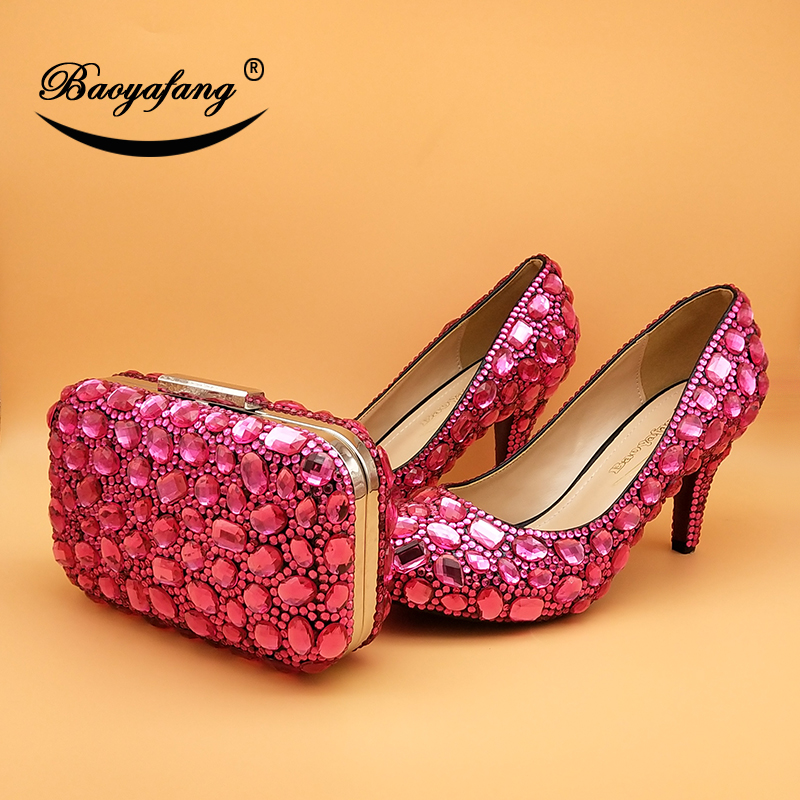 BaoYaFang Fuschia Crystal Wedding shoes and bags Bride High heel platform shoes with matching bags Bridal female shoes woman