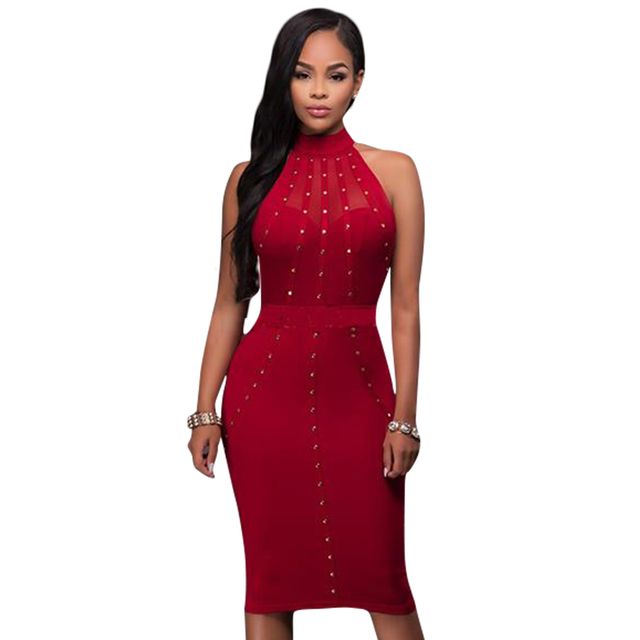 Red and Black Knee Length Cocktail Dresses