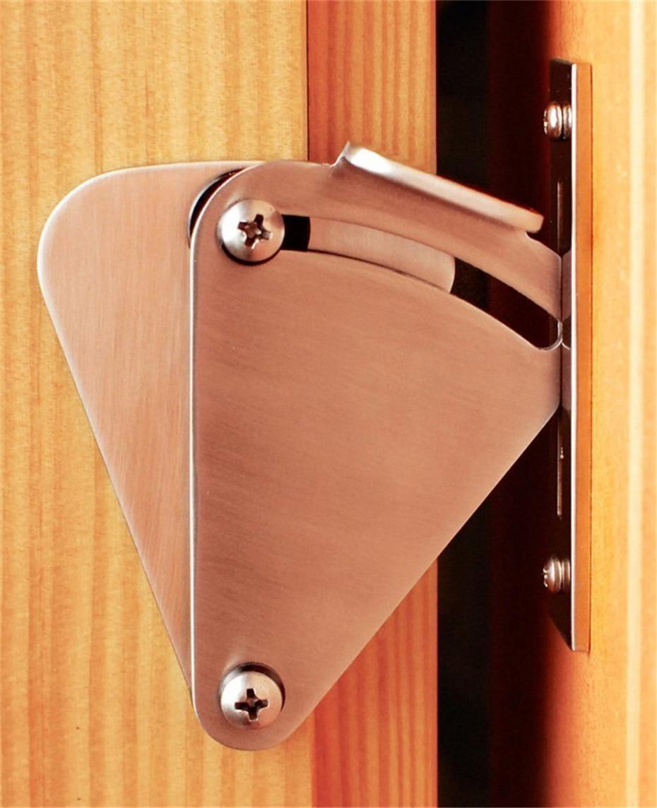 Barn door handles and locks - Top Quality Black Silver Stainless Steel Ss304 Modern Barn Door Sliding Lock