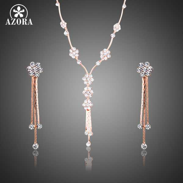 AZORA Fairy Small Cute Flower Rose Gold Color Stellux Austrian Crystal Drop Earrings and Pendant Necklace Jewelry Sets TG0196