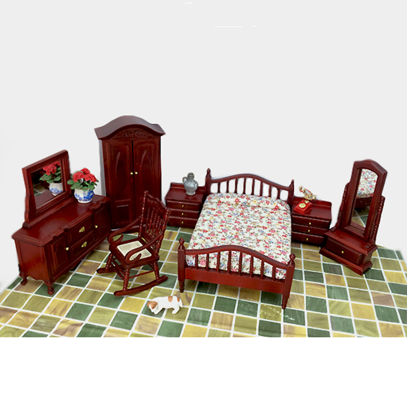 1:12 Dollhouse Furniture toy for dolls red Wooden Miniature simulation bed bedroom sets pretend play toys for kids girls gifts