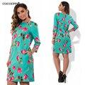 Cocoepps elegante da cópia floral casual vestidos das mulheres tamanhos grandes mulheres novo 2017 plus size roupas outono o-pescoço bodycon curto dress