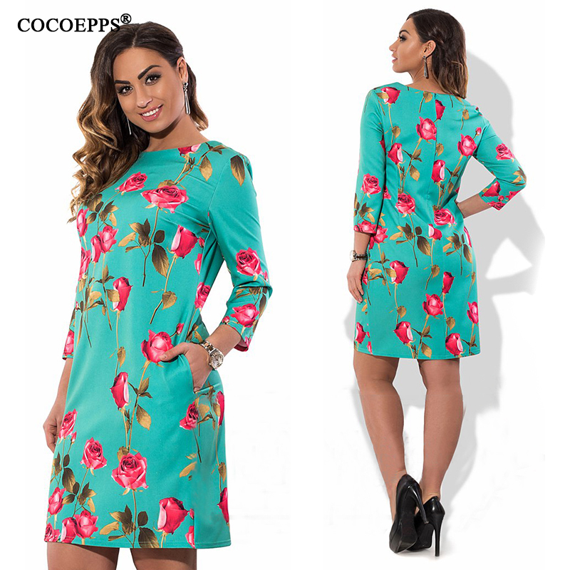 Cocoepps elegante de la impresión floral casual mujeres vestidos tallas grandes nuevo 2017 mujeres de talla grande ropa de otoño o-cuello bodycon short dress