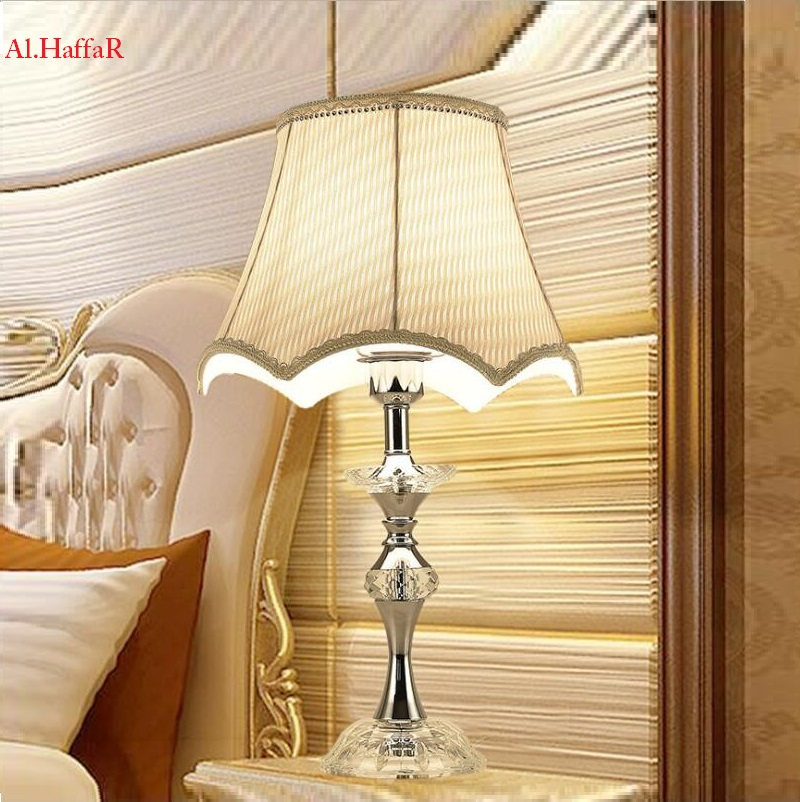 Modern crystal Table Lamps Chrome Luxury ModernDesk Lamp Bedroom Bedside Lamps Abajur cristal bedroom lights Fabric Lampshade fashion modern crystal floor lamp living room lights bedroom lamps crystal french modern stand lights crystal abajur cristal