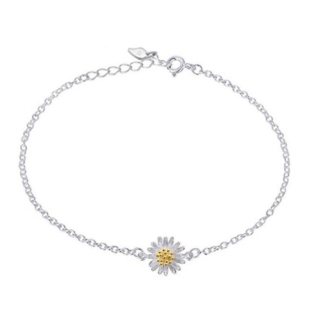 d97c50220e81 Gerbera margaritas pulsera plateada plata moda Japón y Corea joyas de plata  Pulsera al por mayor